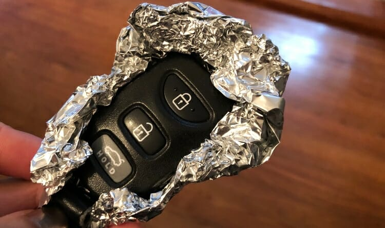 Key Fob Wrapped In Foil