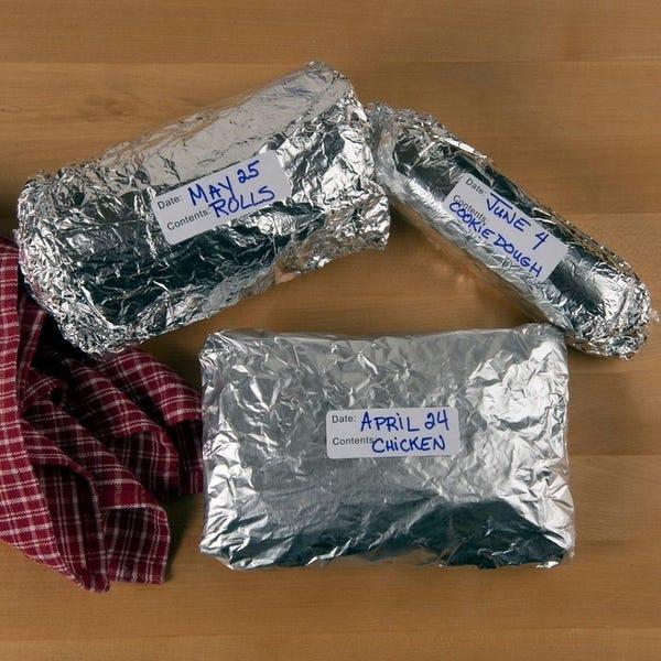 Aluminum Foil Wrapped Items For Freezer