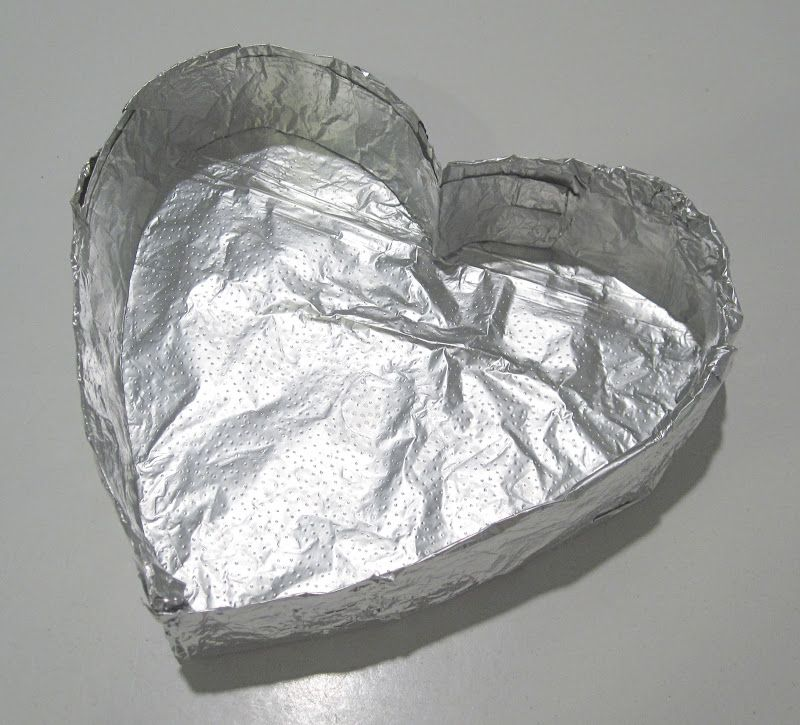 Heart Shaped Pan Made Out Of Aluminum Foil