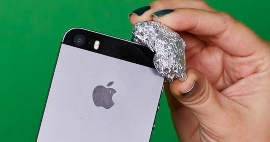 Aluminum Foil On The Corner Of A Smartphone