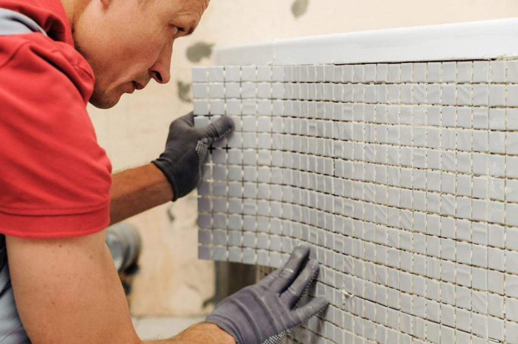 Man Installing Vinyl Tile